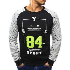 Bluzy męskie: Bluza męska bez kaptura z nadrukiem czarna (bx3065)