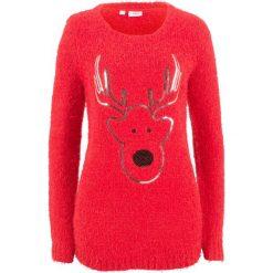 Sweter, długi rękaw bonprix truskawkowy. Czerwone swetry klasyczne damskie bonprix. Za 109,99 zł.