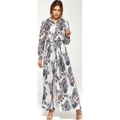 Wzorzysta Koszulowa Sukienka Maxi z Długim Rękawem. Białe długie sukienki marki Molly.pl, na co dzień, na lato, l, z koszulowym kołnierzykiem, z długim rękawem, koszulowe. Za 189,90 zł.
