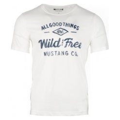 T-shirty męskie: Mustang T-Shirt Męski Printed Xl Kremowy