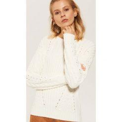 Sweter z warkoczami - Kremowy. Białe swetry klasyczne damskie marki House, l. Za 59,99 zł.