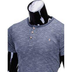 T-shirty męskie: T-SHIRT MĘSKI BEZ NADRUKU S742 – GRANATOWY