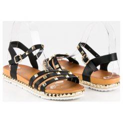 Rockowe płaskie sandały ANESIA PARIS czarne. Czarne sandały damskie marki ANESIA PARIS. Za 69,00 zł.