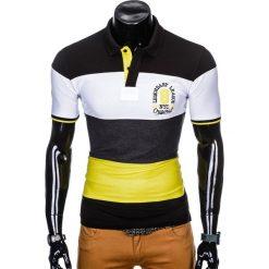 KOSZULKA MĘSKA POLO Z NADRUKIEM S911 - CZARNA. Czarne koszulki polo Ombre Clothing, m, z nadrukiem. Za 65,00 zł.
