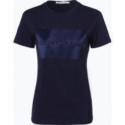 Calvin Klein Jeans - T-shirt damski, niebieski. Niebieskie t-shirty damskie Calvin Klein Jeans, l, z aplikacjami, z jeansu. Za 229,95 zł.