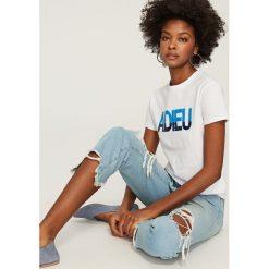 T-shirty damskie: T-shirt z dwustronnymi cekinami – Biały