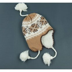 Czapka damska Uszatka regionalna brązowo-biała r. 56-58. Białe czapki zimowe damskie marki Art of Polo. Za 36,52 zł.