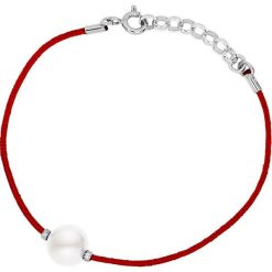 Bransoletki damskie na nogę: Bransoletka w kolorze czerwonym z perłą słodkowodną