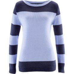 Sweter bonprix niebieski perłowy - ciemnoniebieski. Niebieskie swetry klasyczne damskie bonprix, z okrągłym kołnierzem. Za 74,99 zł.