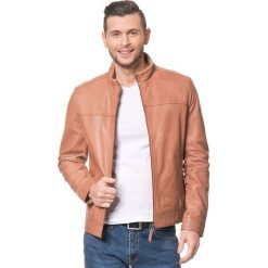 Kurtki męskie bomber: Skórzana kurtka w kolorze jasnobrązowym