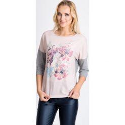 Bluzki asymetryczne: Szara bluzka z kwiatowym nadrukiem QUIOSQUE