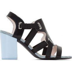 Rzymianki damskie: Skórzane sandały na wysokim obcasie