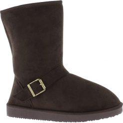 Buty zimowe damskie: Kozaki w kolorze brązowym