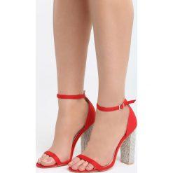 Czerwone Sandały Great Fall. Czerwone sandały damskie na słupku Born2be, z materiału, na wysokim obcasie. Za 89,99 zł.