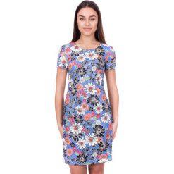 Sukienki: Błękitna sukienka w kwiaty BIALCON