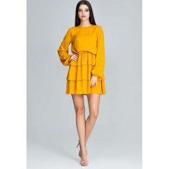Musztardowa Romantyczna Wyjściowa Sukienka z Długimi Bufiastymi Rękawami. Żółte sukienki balowe marki Mohito, l, z dzianiny. Za 172,90 zł.