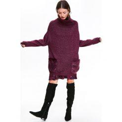 Swetry damskie: LUŹNY SWETER Z GOLFEM I KIESZENIAMI