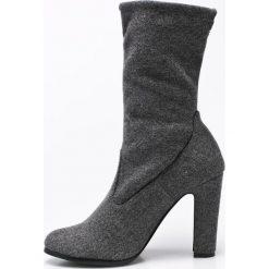 Big Star - Botki. Czarne buty zimowe damskie BIG STAR, z materiału, retro, z okrągłym noskiem, na obcasie. W wyprzedaży za 89,90 zł.