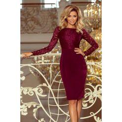 GABI elegancka ołówkowa sukienka z koronką - BORDOWA. Czerwone sukienki balowe marki numoco, s, w koronkowe wzory, z koronki, z długim rękawem, ołówkowe. Za 199,99 zł.