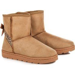 Futrzane śniegowce z brokatem MALLORY. Brązowe buty zimowe damskie vices, z futra. Za 99,90 zł.