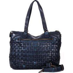 Skórzana torebka w kolorze niebieskim - 38 x 29 x 15 cm. Niebieskie torby na laptopa marki neropantera, w paski, ze skóry. W wyprzedaży za 478,95 zł.