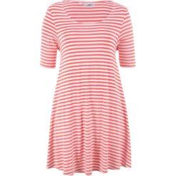 Odzież damska: Tunika shirtowa, krótki rękaw bonprix koralowo-biel wełny w paski