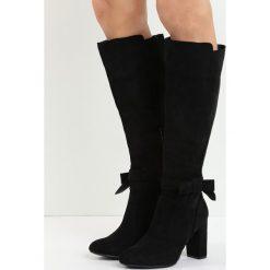 Czarne Kozaki I Show You. Czarne buty zimowe damskie marki Kazar, ze skóry, na wysokim obcasie. Za 139,99 zł.