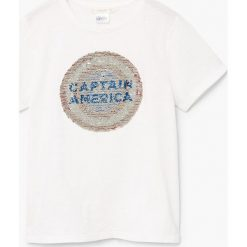 Mango Kids - T-shirt dziecięcy Marv Capitain America 110-164 cm. Szare t-shirty chłopięce z nadrukiem marki Mango Kids, z bawełny, z okrągłym kołnierzem. W wyprzedaży za 29,90 zł.