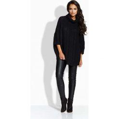 Swetry oversize damskie: Czarny Sweter A'la Ponczo z Golfem