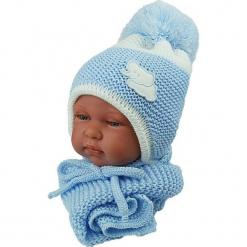 Czapka niemowlęca z szalikiem CZ+S 045C. Niebieskie czapeczki niemowlęce Proman. Za 40,78 zł.