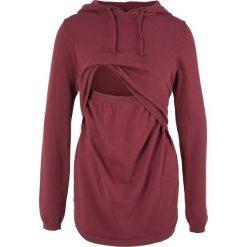 Sweter ciążowy i do karmienia, z kapturem bonprix bordowy. Czerwone swetry klasyczne damskie marki bonprix, z kapturem, moda ciążowa. Za 89,99 zł.