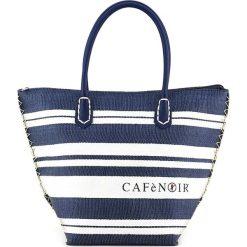 Shopper bag damskie: Shopper bag w kolorze granatowo-białym – 48 x 33 x 2,2 cm