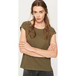 Gładki t-shirt - Khaki. Brązowe t-shirty damskie marki Reserved, l. W wyprzedaży za 34,99 zł.