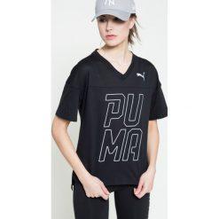Puma - Top. Czarne topy sportowe damskie marki Puma, m, z nadrukiem, z bawełny, z okrągłym kołnierzem. W wyprzedaży za 89,90 zł.