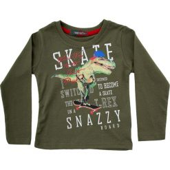 Bluzka chłopięca z aplikacją khaki NDZ9061. Brązowe t-shirty chłopięce Fasardi, z aplikacjami. Za 39,00 zł.