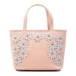 Torebki klasyczne damskie: Skórzana torebka w kolorze pudrowym – (S)20 x (W)29 x (G)11 cm