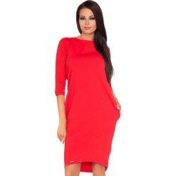 Czerwona Dzianinowa Stylowa Sukienka z Wiązaniem na Karku. Szare sukienki balowe marki Sinsay, l, z dekoltem na plecach. Za 135,90 zł.