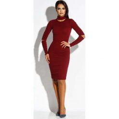 Bordowa Sukienka Ołówkowa z Wycięciami. Czerwone długie sukienki marki Molly.pl, do pracy, l, z tkaniny, biznesowe, z długim rękawem, dopasowane. Za 229,90 zł.