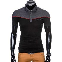 KOSZULKA MĘSKA POLO BEZ NADRUKU S878 - GRAFITOWA/CZARNA. Czarne koszulki polo marki Ombre Clothing, m, z bawełny, z kapturem. Za 39,00 zł.