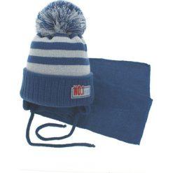 Czapka dziecięca z szalikiem CZ+S 035D niebiesko-szara r. 46-50. Niebieskie czapeczki niemowlęce Proman. Za 47,21 zł.