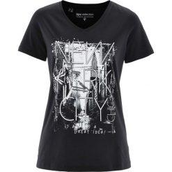T-shirt bonprix czarno-biały. Czarne t-shirty damskie marki bonprix, z nadrukiem. Za 34,99 zł.