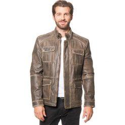 Kurtki męskie bomber: Skórzana kurtka w kolorze oliwkowym