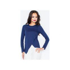 Bluzka M210 Granat. Niebieskie bluzki damskie FIGL, l, z bawełny, eleganckie, z asymetrycznym kołnierzem, z długim rękawem. Za 79,00 zł.