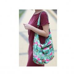 Kolorowa torba palmy flamingi liście tropikalne. Czarne torebki klasyczne damskie marki Karolina audycka, z haftami, z materiału, duże, z haftem. Za 179,00 zł.