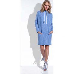 Sukienki: Niebieska Sukienka Dzianinowa z Troczkami przy Dekolcie