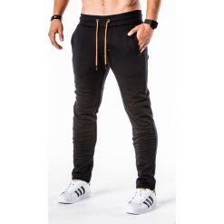 SPODNIE MĘSKIE DRESOWE P550 - CZARNE. Czarne spodnie dresowe męskie Ombre Clothing, z bawełny. Za 54,00 zł.