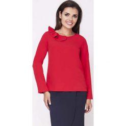 Bluzki damskie: Czerwona Elegancka Bluzka Wizytowa z Falbanką przy Dekolcie