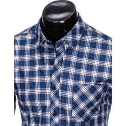 KOSZULA MĘSKA W KRATĘ Z DŁUGIM RĘKAWEM K415 - GRANATOWA/BEŻOWA. Brązowe koszule męskie na spinki marki FORCLAZ, m, z materiału, z długim rękawem. Za 39,00 zł.