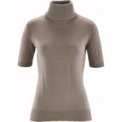 Swetry damskie: Sweter z golfem, z domieszką jedwabiu bonprix brunatny