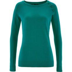 Sweter z plisą guzikową bonprix ciemnoszmaragdowy. Zielone swetry klasyczne damskie bonprix, z dzianiny, z okrągłym kołnierzem. Za 74,99 zł.